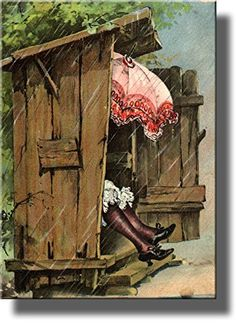 A Woman with Umbrella in Ladies Outhouse Toilet Bathroom Picture Made on Wood, Wall Art Decor Ready to Hang. ArtWorks Wall Décor http://www.amazon.com/dp/B00MUCYY1C/ref=cm_sw_r_pi_dp_XRuAvb0K4YPZZ