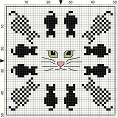 Cat chart, cross x stitch or bead