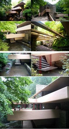 Fallingwater House by Frank Lloyd Wright (video) is part of Frank lloyd wright architecture - Recognized as 'the greatest American architect of all times', Frank Lloyd Wright designed an extraordinary house known as Fallingwater that redefined the r Organic Architecture, Modern Architecture House, Modern House Design, Amazing Architecture, Architecture Details, Architecture Student, Falling Water Frank Lloyd Wright, Frank Lloyd Wright Homes, Falling Water House