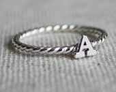 Single Initial Ring - sterling silver with twist band - great for stacking