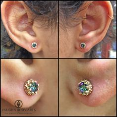 We had the pleasure of piercing Grace last night. She has some other piercings, but she'd never gotten around to piercing her earlobes. Talk about hitting it out of the park with the jewelry she picked out! She chose a pair of BVLA yellow gold Crown's with one of our all time favorite gemstones, Mystic Topaz. These are simply jaw dropping. Thank you so much, Grace. Your earlobes couldn't look better! @vaughnbodyarts Monterey, CA
