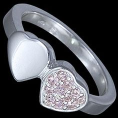Silver ring, CZ, two hearts Silver ring, Ag 925/1000 - sterling silver. With stones (CZ - cubic zirconia). Delightful hearts - silver and with zircons, huddling to each other on the ring. Dimensions of the heart approx. 7x7 mm.