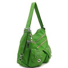 Lime Green Stone Washed Handbag