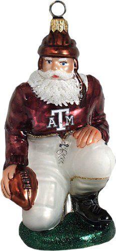 Texas A Aggies Ironman Football Player Blown Glass Ornament