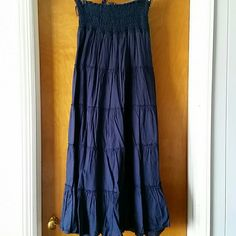 Charlotte Russe Maxi Skirts Selling a Navy and an Olive skirt as one. They are tiered and lined. Smocked waist. Charlotte Russe Skirts Maxi