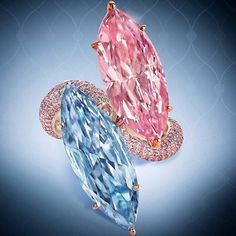 Beyond compare. A natural fancy intense pink and natural fancy vivid blue marquise diamond ring with a pink diamond shank.  Image : @moussaieffjewellers