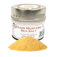 Our Dijon Mustard Sea Seat Salt brings all the wonderful crisp and tangy flavors of our favorite mustard to your table. Dijon's naturally biting flavor is complimented by our California Sea Salt, carefully blended in small batches and hand-packed in our unique magnetic tins. All of the striking and subtle notes of Dijon are there, and its flavor brings out the best in pork dishes, roasted chicken, white fish, steamed leafy greens, a fresh salad, baked potatoes–anywhere you'd use mustard.