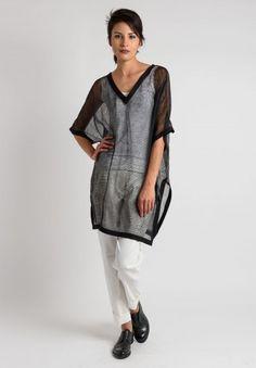 Annette Görtz Linen Short Sleeve Net Tunic in Black