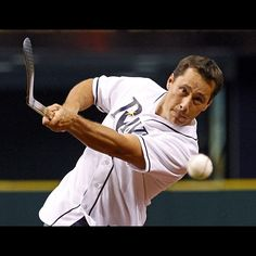 """Guy Boucher """"throwing"""" the first pitch at a Rays game! #Strike"""