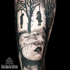 Woman face morph tattoo. Dark tattoo   Realism Tattoo Artist in Sydney   Sydney Tattoo Australia. #tattoo #blackandgrey #face #morphtattoo