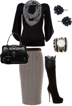 """Houndstooth"" by aaronjillthomas on Polyvore I really need this!!! A lil lower heel though. :)"