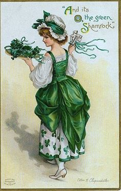 Artist: Ellen Clapsaddle Irish Girl Wearing Shamrock And it's O, the green Shamrocks. Patrick's Day Postcard--Divided Back Publisher: International Art Publ. Postmark: PM City: Fort Chester PM State: NY Stamp: Series 1111 Size: x x 14 cm) Deco St Patrick, Fete Saint Patrick, Sant Patrick, St Patrick's Day, Vintage Cards, Vintage Postcards, Vintage Images, Vintage Retro, St Patricks Day Cards