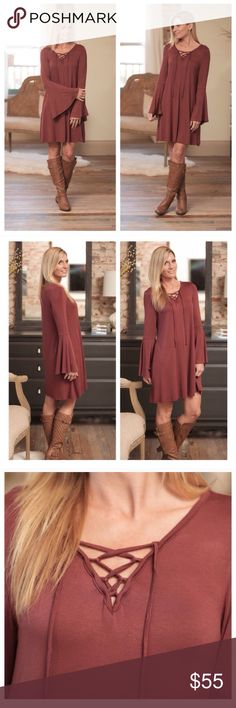 Infinity Raine boho sleeve bell lace up dress-NWT! Infinity Raine boho sleeve bell lace up dress-NWT! This dress is casual and flirty- with a fun boho look to it! The fabric is NON CLINGY-which provides a more comfortable fit. This dress is a red brown color- 95%rayon/ 5% spandex! Made in the USA! ***ships the week of 9-26*** Infinity Raine Dresses