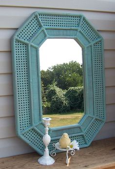 Large+Wicker+Look+Green+Mirror+/+Beach+Decor+by+ReFeatherYourNest