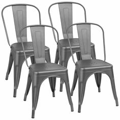 Walnew Metal Dining Chair Indoor-Outdoor Use Stackable Classic Trattoria Chair Chic Dining Bistro Cafe Side Metal Chairs Set of 4 (Gray) Parsons Dining Chairs, Patio Dining Chairs, Solid Wood Dining Chairs, Upholstered Dining Chairs, Dining Chair Set, Side Chairs, Dining Room, Metal Bar Stools, Counter Bar Stools