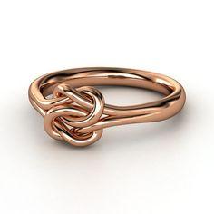 18K Rose Gold Ring - Plain Lover's Knot Ring | Gemvara. Anniversary ring.