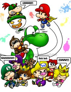 looks like someones gonna snap lol since nintendos been popping babies everywhere lately i thought of this i tried drawing this pic twice before and it . Super Mario And Luigi, Super Mario Art, Mario Bros., Mario Kart, Yoshi, Super Smash Bros Videos, Mario Comics, Baby Donkey, Overwatch Reaper