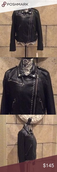 Free people vegan leather jacket Beautiful vegan leather jacket with metal studs details. I love this jacket, but have no use for it since I live in Florida.  My loss your gain.  If you need more pictures please ask. All sales are final. No refund or exchanges. Free People Jackets & Coats