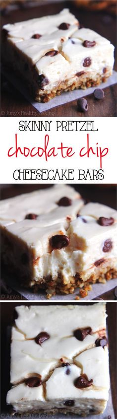 Skinny Chocolate Chip Pretzel Cheesecake Bars -- so easy & packed with 5g+ protein! Barely 100 calories!