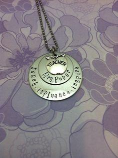 Teacher appreciation necklace- Hand stamped necklace