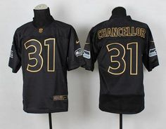 """$23.88 at """"MaryJersey""""(maryjerseyelway@gmail.com) Nike Seahawks #31 Kam Chancellor Black Gold No. Fashion Men's Stitched NFL Elite Jersey"""