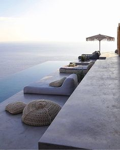 Dream Summer House On Syros - Greece Modern villa in Greece hosting 4 persons with infinity pool high above the mediterran sea. Boutique accomodation in Syros with clear design, natural fabrics and pure comfort - designed by Exterior Design, Interior And Exterior, Syros Greece, Pool Designs, Dream Vacations, Outdoor Living, Places To Go, Beautiful Places, Around The Worlds
