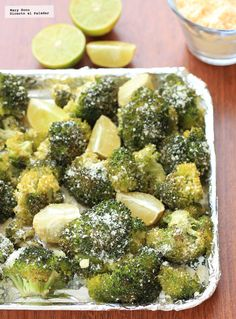 Receta de brócoli asado con limón y parmesano. Con fotografías paso a paso, consejos y sugerencias de degustación. Recetas de guarniciones