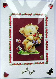 Teddy Bear HandCrafted 3D Decoupage Card  With by SunnyCrystals, £1.65 #teddybear #red #butterfly #decoupage #card #sunnycrystals #heart