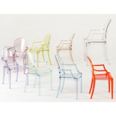 kartell ghost chairs in color