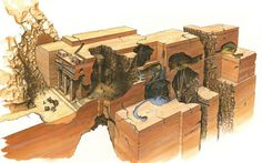 Fictional cross section of Petra showing the interior as it appeared in the movie, Indiana Jones and the Last Crusade