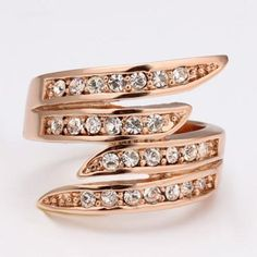 Engagement Wedding Rose Gold Plated Band Rings Rhinestones Promise.