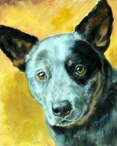 Australian Cattle Dog Blue Heeler Dog Art 8X10 by DottieDracos