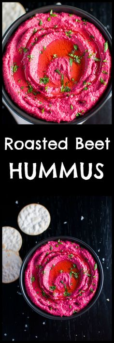 Add some color to your life with this roasted beet hummus – a bright pink dip that's a real crowd pleaser.