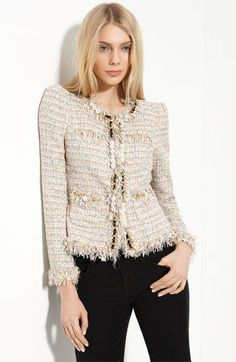how to wear your chanel jacket. : how to wear your chanel jacket. - Page 56 - PurseForum Chanel Jacket Trims, Chanel Style Jacket, Komplette Outfits, Fashion Outfits, Womens Fashion, Tweed Outfit, Nordstrom Jackets, Mode Chanel, Chanel Dress