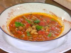 Smoked Sausage, Tomato and Mushroom Soup from CookingChannelTV.com