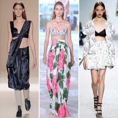6. BRA OUT Nope, no more lurking beneath shirts and tops. In 2017, bras are getting their time in the spotlight.  Runway looks, from left: Victoria Beckham, Tory Burch, Giambattista Valli