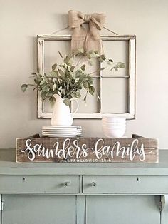 Room decor - rustic farmhouse style - Last Name Sign Rustic Home Decor Personalized Sign Reclaimed Wood by SalvagedChicMarket on Etsy Diy Home Decor Rustic, Easy Home Decor, Cheap Home Decor, Rustic Window Decor, Window Frame Decor, Vintage Window Decor, Bedroom Rustic, Window Ideas, Window Hanging