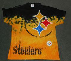 Men's Black & Yellow PITTSBURGH STEELERS NFL Tie Dye Logo Shirt, Size XL, GUC! #NFLTEAMAPPAREL #PittsburghSteelers
