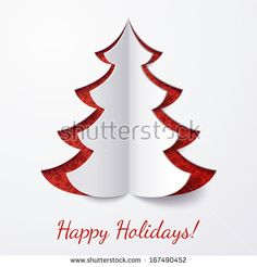 Vector white paper Christmas tree on a red matte background. Design elements for holiday cards.