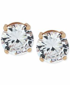 Jessica Simpson Rose Gold-Tone Crystal Round Stud Earrings