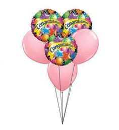 Congratulate to a friend, student, colleague or anyone with this balloon bouquet. Simply designed 6 balloons (3 pink lates and 3  'Congratulation ' soft mylar) for fun and perfect for sending congratulations. 	Note :			For hospital deliveries Latex will be substituted by Mylar balloons.