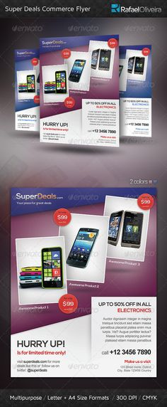 Super Deals Commerce Flyer — Photoshop PSD #bold #online • Available here → https://graphicriver.net/item/super-deals-commerce-flyer/3983831?ref=pxcr