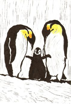 Penguins on White  Original Linocut Print by TheGreyFoxStudio, $44.99
