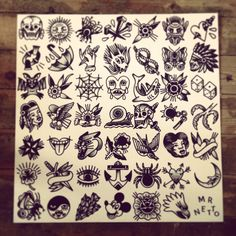 70 x 70 cm tattoo flash by mr. levi netto, all designs are 7 x 7 cm 35€ tip! For appointments mail at http://Pin4Cash.com                                                                                                                                                                                 Más