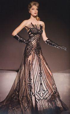 Woah !!!  Blanka Matragi 2012, amazing!  lace, dress, beaded, beads