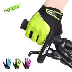 BATFOX Sport Cycling Gloves Full Finger Polyester Nylon Bike Gloves Anti-shock Anti-sweat MTB Gloves Outdoor Bicycle Gloves Hot