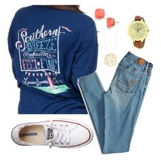 """""""Saturday OOTD"""" by floridian-prep on Polyvore featuring American Eagle Outfitters, Converse, Kate Spade, Michael Kors, women's clothing, women's fashion, women, female, woman and misses"""