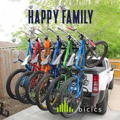 Happy family with enough number of bicycles. Probbaly they need a couple more of bikes but it should be fine. Is a number to start with good pedaling for downhill.