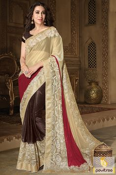 Lovely #Red #Brown Color Georgette Silk Karishma Kapoor Actress Wedding Wear Saree #sarees, #Bollywoodsarees, #karishmakapoorsaree More : http://www.pavitraa.in/store/party-wear-saree/?utm_source=mk&utm_medium=pinterestpost&utm_campaign=8Apr