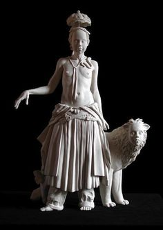 "'The Exile of the Manticore' (2008) from the ""Exiles in Lower Utopia"" series by self taught American sculptor Tricia Cline (b.1956). Porcelain, 20 x 12 x 7 in. source: the artist's site. via artist a day"